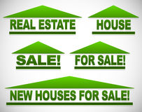 Icons with text for real estate concepts - For sale signs house Stock Photography