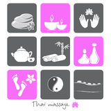 Icons thai massage spa Royalty Free Stock Images