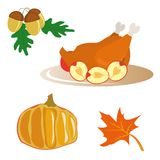 Icons for Thanksgiving Day Royalty Free Stock Photo