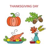 Icons Thanksgiving Day. vector illustration