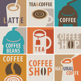 Icons on a theme of coffee and tea Stock Images