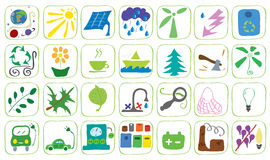 Icons on the theme of ecology Royalty Free Stock Photo