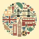 Icons on a theme of England. Symbols of England and London in the form of a circle vector illustration