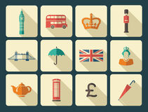 Icons on a theme of England Stock Image
