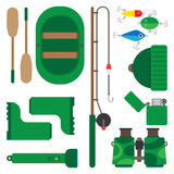 Icons theme of fishing. Boat fishing pole and all you need for fishing Royalty Free Stock Photo
