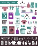 Icons on a theme of washing and care of clothes. Flat vector illustration Stock Photos