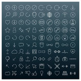 Icons of thin lines, vector illustration. Royalty Free Stock Photo