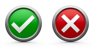 Icons tick & cross Royalty Free Stock Photo
