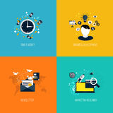 Icons for time is money, business development, newsletter and ma Stock Image