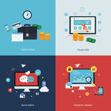 Icons for time is money, pay per click, online Stock Photography