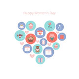 Icons to the International Womens Day. Royalty Free Stock Images