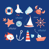 Icons to the marine theme. Different colored icons to the wonderful marine theme royalty free illustration