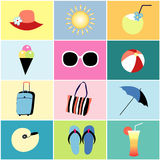Icons to the summer recreation Royalty Free Stock Images