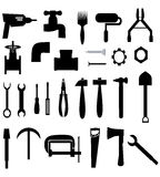 Icons with tools. Icons with different silhouettes of tools and spare parts Royalty Free Stock Image