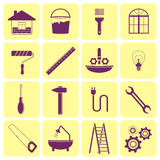 Icons of tools for repair of house Stock Photo