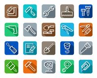 Icons, tools, repairs and construction, colored background, shadow. Royalty Free Stock Images