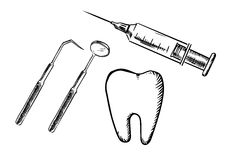 Icons of tooth, syringe, mirror and probe Royalty Free Stock Images