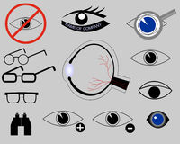Icons on the topic of eyes. Structure of eye, glasses Stock Images