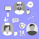 Icons on the topic of medical examination. Of the patient and purpose of treatment Royalty Free Illustration