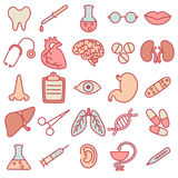 Icons on the topic of medicine Stock Photos