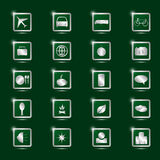 Icons for tourism. On a green background Royalty Free Stock Photos