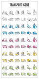 Icons transport color blck blue pink Yellow green vector on whit Royalty Free Stock Photos
