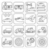 Icons transport and technology contour Royalty Free Stock Photography