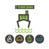 Icons travel colour boat tour vector on white background Royalty Free Stock Photo