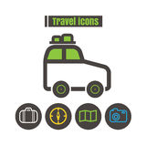 Icons travel colour Car vector on white background Stock Photos