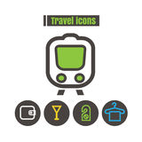 Icons travel colour Train vector on white background Stock Photo