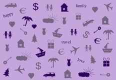 The icons. Icons with travel, family and love on a light background Stock Images