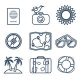 Icons of travel, summer in the flat line style Stock Photos