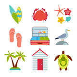 Icons of travel, summer in the flat style Stock Images