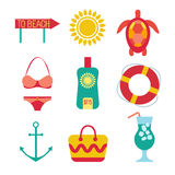 Icons of travel, summer in the flat style Stock Photos