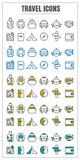Icons travel vector color black blue Yellow green on white backg Stock Photo