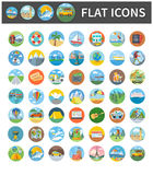 Icons of Traveling, Vacation, Tourism, Journey. Set circle colorful icons of traveling, summer vacation, tourism and journey. Items in flat design. Different Royalty Free Stock Photo