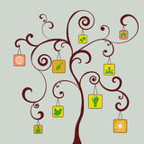 Icons on the tree Stock Images