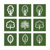Icons with tree. Icons with stylized geometric tree Royalty Free Stock Photos