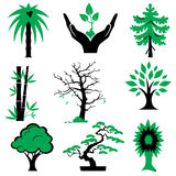 Icons trees. Set of  silhouette icons of trees and plants. Vector icons in two colors Royalty Free Stock Images