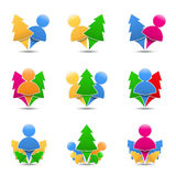 Icons of trees with humans Stock Photos