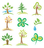 Icons_trees_plants. Set of icons  trees and plant. Vector illustration Royalty Free Stock Images