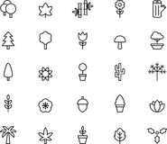 Icons for trees and plants. Illustrations for a collection of icons related to trees and plants including Christmas tree, tulip, mushroom, leaves, palm tree Stock Photo