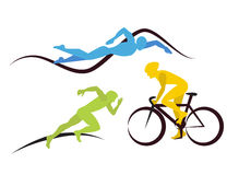 Icons for triathlon  and other spot events. Three triathlon athletes.  Icons for triathlon  and other spot events Royalty Free Stock Photo