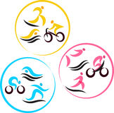Icons for triathlon  and other spot events Stock Images