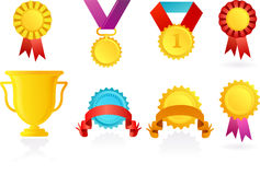 Icons of trophy and ribbons Stock Photography