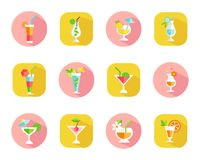 Icons of tropical cocktails Royalty Free Stock Photo