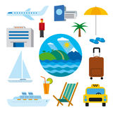 Icons of tropical resort Royalty Free Stock Images