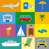 Icons of tropical travel concept, sea and ocean resort, cruise. And journey Royalty Free Stock Photo