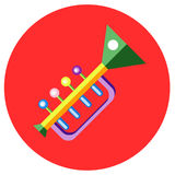 Icons trumpet of toys in the flat style. Vector image on a round colored background. Element of design, interface. Royalty Free Stock Image