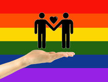 Icons of two gay men with heart Royalty Free Stock Image